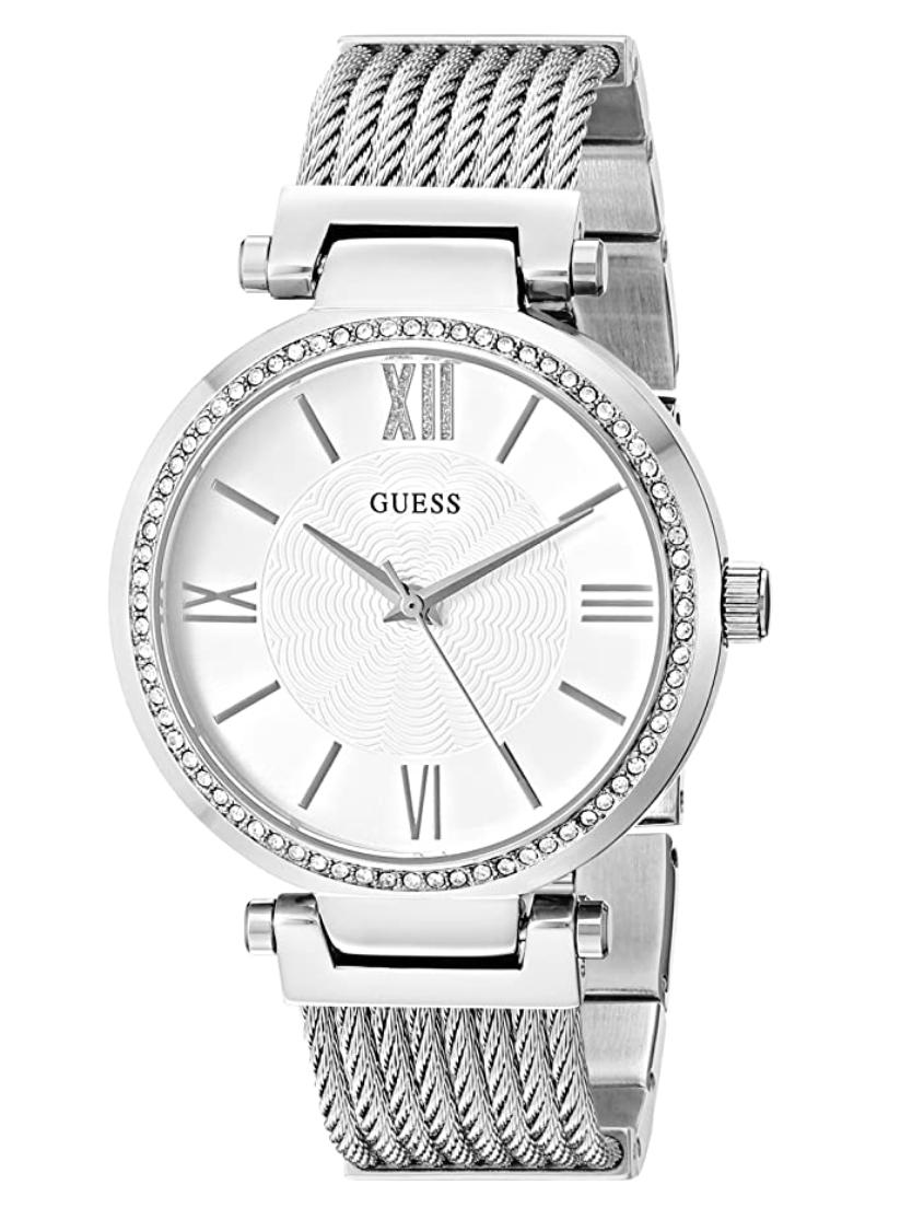 Guess Silver-Tone Modern Woven Watch