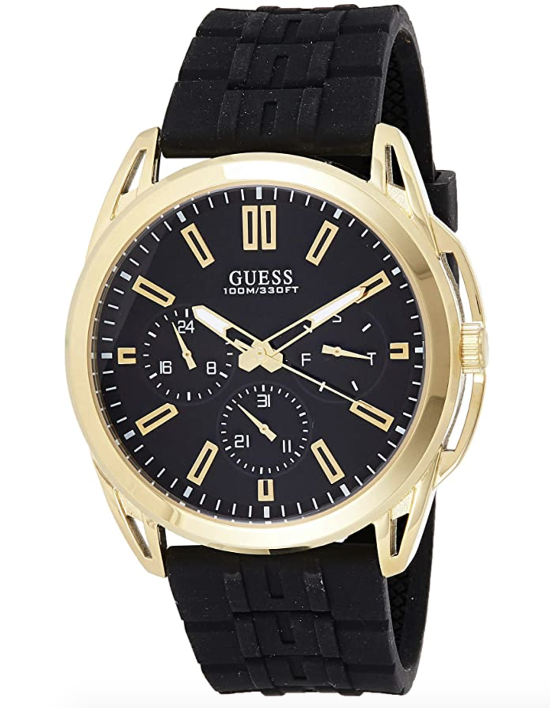 Guess W1177G2 Men's Gold-Tone Silicone Band Multifunction Black Dial Watch